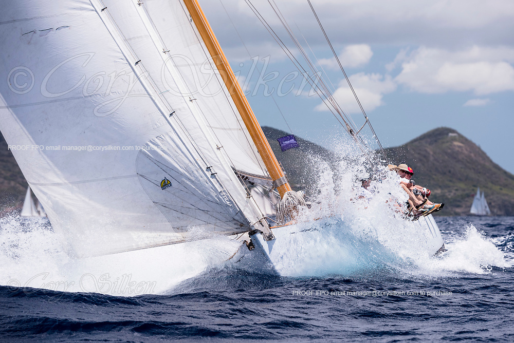 The Blue Peter sailing in the Antigua Classic Yacht Regatta, Old Road Race.