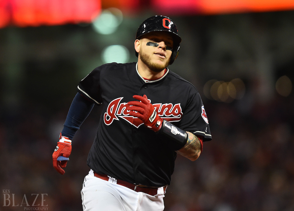 Oct 25, 2016; Cleveland, OH, USA; Cleveland Indians catcher Roberto Perez rounds the bases after hitting a solo home run against the Chicago Cubs in the fourth inning in game one of the 2016 World Series at Progressive Field. Mandatory Credit: Ken Blaze-USA TODAY Sports