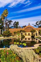 Laguna de las Flores (Botanical Building behind), Balboa Park, San Diego, California USA.