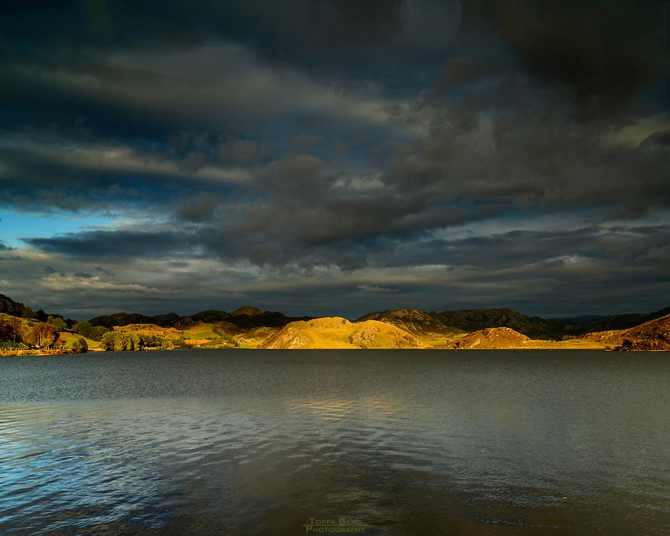 Sunset at Limavatnet (Lima lake) at Gjesdal, Rogaland, Norway.