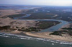 The Rio Grande River meandering and emptying into the Gulf of Mexico.