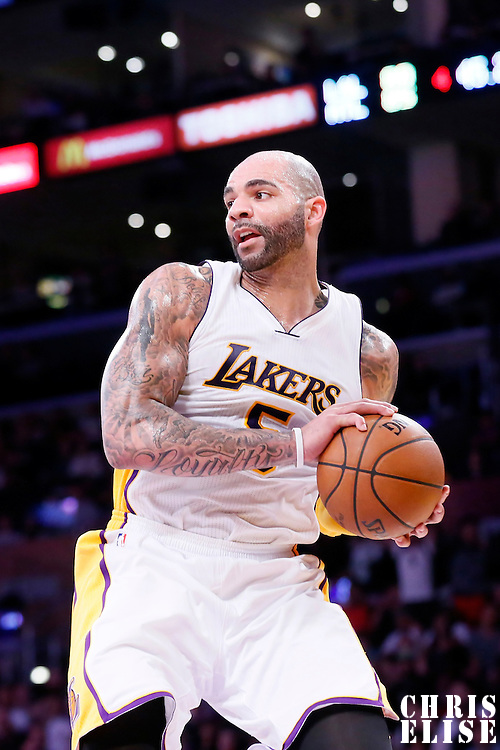 15 March 2015: Los Angeles Lakers forward Carlos Boozer (5) grabs a rebound during the Atlanta Hawks 91-86 victory over the Los Angeles Lakers, at the Staples Center, Los Angeles, California, USA.