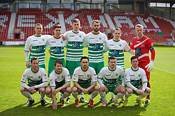 WREXHAM, WALES - Monday, May 2, 2016: The New Saints' players line up for a team group photograph before the129th Welsh Cup Final against Airbus UK Broughton at the Racecourse Ground. Back row L-R: Kai Edwards, Aaron Edwards, Scott Quigley, Connell Rawlinson, Chris Marriott, goalkeeper Paul Harrison. Front row L-R: Matthew Williams, Christian Sergeant, Ryan Brobbel, Adrian Cieslewicz, Simon Spender. (Pic by David Rawcliffe/Propaganda)