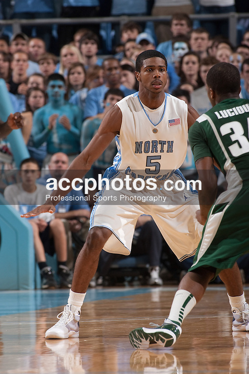 01 December 2009: North Carolina Tar Heels guard Dexter Strickland (5) in an 82-89 win over the Michigan State Spartans at the Dean Smith Center in Chapel Hill, NC.