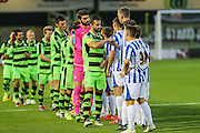 Respect handshake during the Gloucestershire Senior Cup match between Forest Green Rovers and Cheltenham Town at the New Lawn, Forest Green, United Kingdom on 20 September 2016. Photo by Shane Healey.