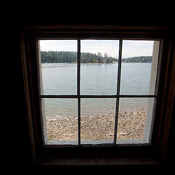 Blockhouse Interior and Window Onto Garrison Bay at English Camp, San Juan Island, Washington, US