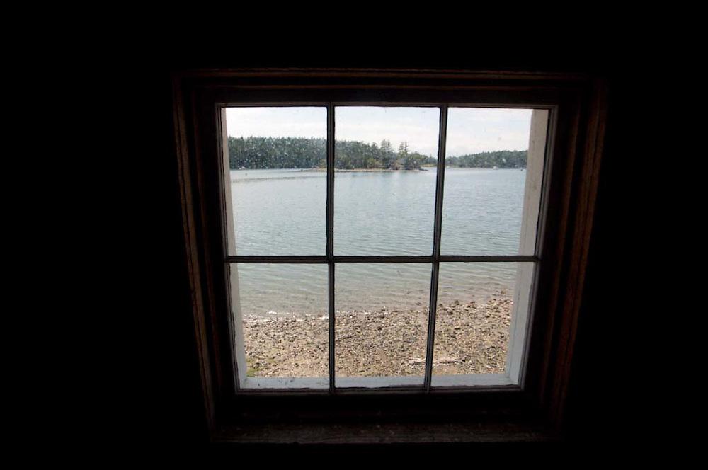 Blockhouse Interior and Window Onto Garrison Bay at English Camp, San Juan Island, Washington, US