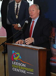 Minister for Rural and Community Development Michael Ring TD speaking at the opening of the Leeson Enterprise centre Westport on friday last.<br />Pic Conor McKeown