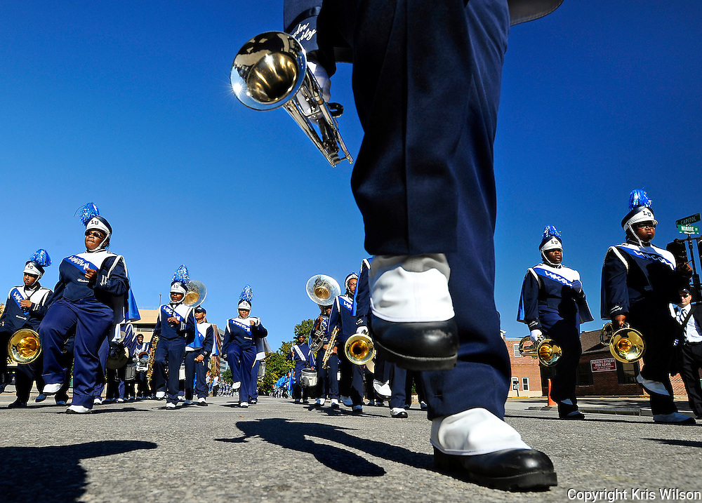 "Lincoln University's ""Marching Musical Storm"" make their way down Capital Avenue during the Blue Tigers' 2011 homecoming parade in downtown Jefferson City."