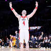 21 March 2014: Washington Wizards center Marcin Gortat (4) celebrates a three point jump shot during the Washington Wizards 117-107 victory over the Los Angeles Lakers at the Staples Center, Los Angeles, California, USA.