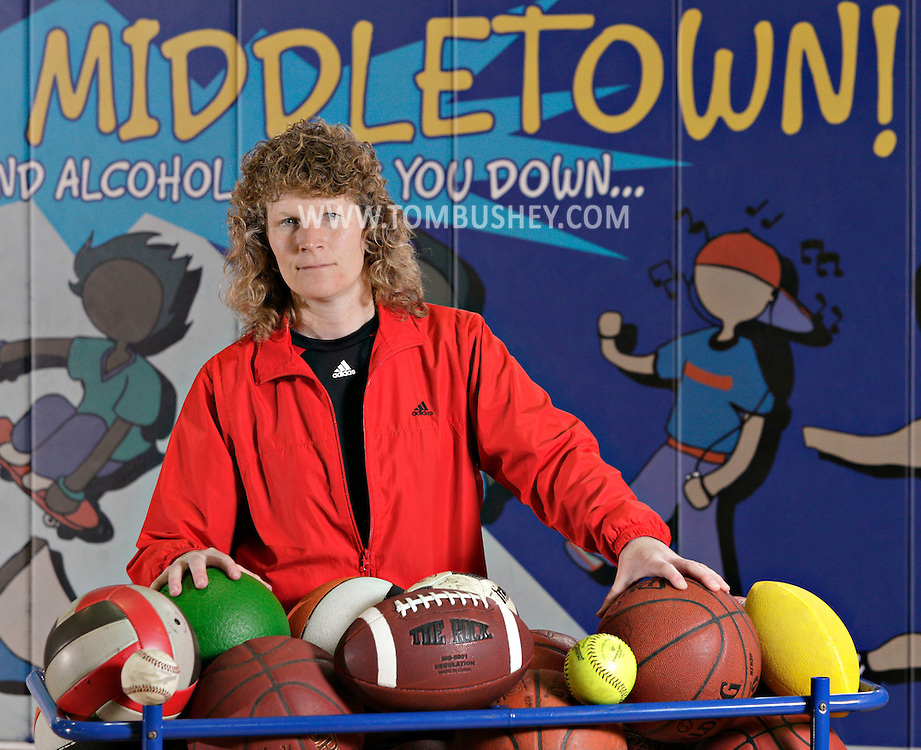 Chris Brinckerhoff, assistant superintendent of the Middletown Recreation and Parks Department, poses for a portrait in the gymnasium in the department's building in Middletown on Thursday, April 26, 2012.