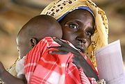 (FILE) Picture dated 18 October 2004 of a Sudanese IDP (Internally displaced people) mother waiting to see a doctor for her sick baby at the MSF (Medicines Sans Fronteir) clinic in the  Al Hameidia IDP camp,West Darfur, Sudan <br /> <br /> The Sudanese government Monday 29 November 2004 ordered the expulsion within 48 hours, of two senior international aid workers claiming the two who work for Oxfam and Save the Children had broken laws on non-intervention in Sudan's political, ethnic or sectarian issues.