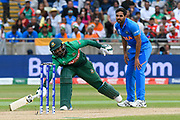 Liton Das of Bangladesh gets home to avoid a run out during the ICC Cricket World Cup 2019 match between Bangladesh and India at Edgbaston, Birmingham, United Kingdom on 2 July 2019.
