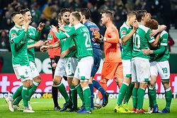 BREMEN, Dec. 8, 2018  Bremen's players celebrate scoring during a German Bundesliga match between SV Werder Bremen and Fortuna Duesseldorf, in Bremen, Germany, on Dec. 8, 2018. Duesseldorf lost 1-3. (Credit Image: © Kevin Voigt/Xinhua via ZUMA Wire)