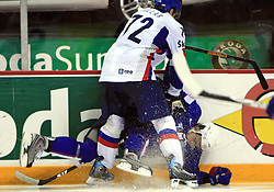 Andrej Kollar of Slovakia and Anze Kopitar of Slovenia at ice-hockey game Slovenia vs Slovakia at Relegation  Round (group G) of IIHF WC 2008 in Halifax, on May 09, 2008 in Metro Center, Halifax, Nova Scotia, Canada. Slovakia won 5:1. (Photo by Vid Ponikvar / Sportal Images)