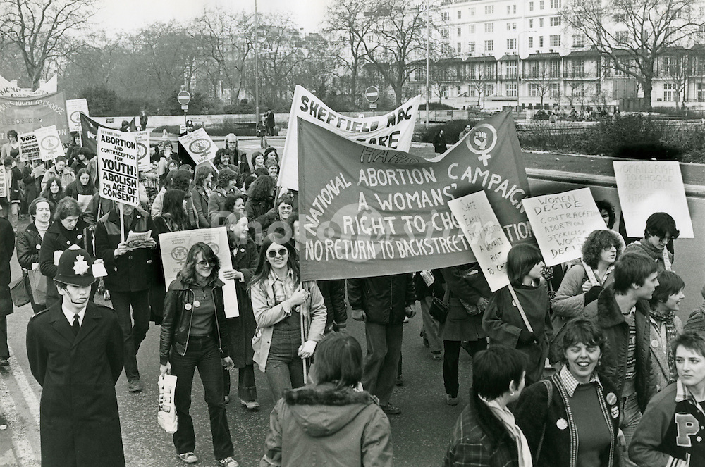 TUC organised demonstration against Corrie's Anti-abortion bill which would have restricted time limits on abortion; November 1979