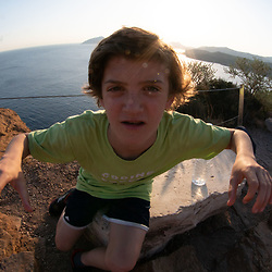 Max at Temple of Poseidon, Cape Sounion, Attic, Greece