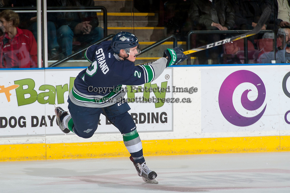KELOWNA, CANADA - FEBRUARY 13: Austin Strand #2 of the Seattle Thunderbirds takes a slap shot from the blue line against the Kelowna Rockets during first period on February 13, 2017 at Prospera Place in Kelowna, British Columbia, Canada.  (Photo by Marissa Baecker/Shoot the Breeze)  *** Local Caption ***