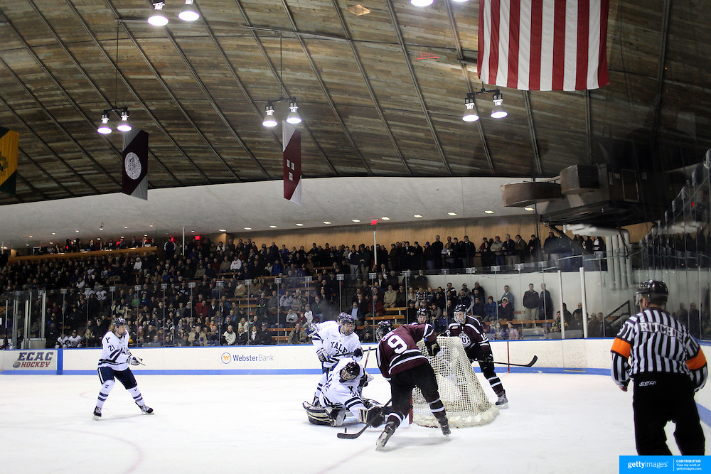 Daniel Carr, Union College, shoots during the Yale Vs Union College, Men's College Ice Hockey game at Ingalls Rink, New Haven, Connecticut, USA. 28th February 2014. Photo Tim Clayton