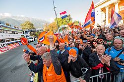 Supporters of Netherlands celebrate during the Women's Elite Road Race a 156.2km race from Kufstein to Innsbruck 582m at the 91st UCI Road World Championships 2018 / RR / RWC / on September 29, 2018 in Innsbruck, Austria. Photo by Vid Ponikvar / Sportida