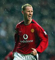 Photo. Aidan Ellis.<br /> Manchester United v Everton.<br /> FA Barclaycard Premiership.<br /> 26/12/2003.<br /> United's Nicky Butt celebrates his goal and teams first