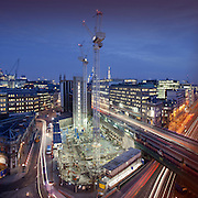 Sixty London, construction site, Holborn Viaduct, Night, colour, square. 3 images stitched together to make panorama shot on Canon 5d MKii with a 24mm TSL lens. F11 15 seconds