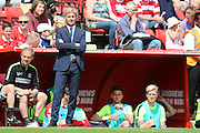 Charlton Athletic Head Coach Jose Riga stnading in front of dug outduring the Sky Bet Championship match between Charlton Athletic and Burnley at The Valley, London, England on 7 May 2016. Photo by Matthew Redman.