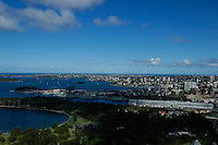 Looking East over Sydney harbor, Australia.