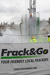 "Parliament Square, London, February 9th 2016. Anti-fracking protesters put a up a noisy, smoke-belching ""fracking site"" in Parliament Square as a Parliamentary inquiry begins into fracking. ///FOR LICENCING CONTACT: paul@pauldaveycreative.co.uk TEL:+44 (0) 7966 016 296 or +44 (0) 20 8969 6875. ©2015 Paul R Davey. All rights reserved."