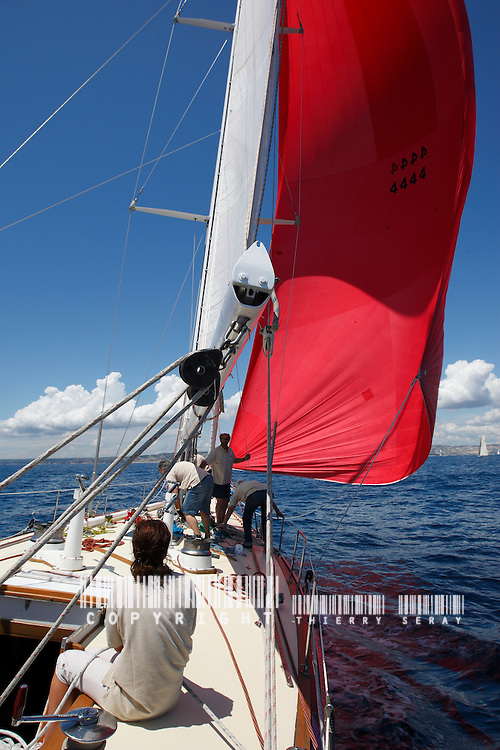 ONBOARD RUNNING TIDE-SPARKMAN &amp; STEPHENS 1969 YACHT. ROYAL HUISMAN SHIPYARD<br /> Few yachts have enjoyed the long-running racing success of RUNNING TIDE. Starting with class honors in the 1970 Bermuda Race and first place silver in the 1971 Southern Ocean Racing Conference (SORC), RUNNING TIDE amassed a case full of over 200 trophies for her two owners right up to victory in the 1983 Annapolis to Newport Race. Built of light weight (for the day) aluminum by Royal Huisman Shipyard, their first aluminum hull, she pre-dated the IOR rule by several years yet remained competitive under that rule for over a decade. Eventually, newer, optimized designs ruled the day but RUNNING TIDE remains with her second owners as a cruising yacht in Europe.