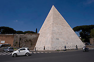 Roma 20 Aprile 2015<br /> Completato il restauro della Piramide di Caio Cestio, costato 2 milioni di euro finanziato dal mecenate giapponese Yuzo Yagi. La  piramide Cestio, vicino a Porta San Paolo, fu realizzata nel I secolo a.C., come tomba per Gaio Cestio Epulone, un membro dei septemviri epulone uno dei quattro più importanti collegi religiosi della Roma antica.<br /> Rome April 20, 2015<br /> Completed the restoration of the Pyramid of Caius Cestius, cost 2 million euro funded by patron Japanese Yuzo Yagi. The pyramid Cestius, near Porta San Paolo, was built in the first century BC as a tomb for Gaius Cestius a member of septemviri  one of the four most important religious colleges of ancient Rome.