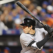 NEW YORK, NEW YORK - APRIL 11: Christian Yelich, Miami Marlins, batting during the Miami Marlins Vs New York Mets MLB regular season ball game at Citi Field on April 11, 2016 in New York City. (Photo by Tim Clayton/Corbis via Getty Images)