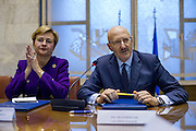 Roma 15/12/2015, program agreement between Minister of Economic Devolepment and Poste Italiane Italian Posts) for 2015-2019. In the Federica Guidi, Francesco Caio