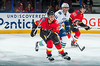 PENTICTON, CANADA - SEPTEMBER 10: Ben Hawerchuk #97 of Calgary Flames skates against the Vancouver Canucks on September 10, 2017 at the South Okanagan Event Centre in Penticton, British Columbia, Canada.  (Photo by Marissa Baecker/Shoot the Breeze)  *** Local Caption ***