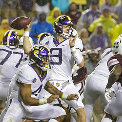 Oct 20, 2018; Baton Rouge, LA, USA; LSU Tigers quarterback Joe Burrow (9) against the Mississippi State Bulldogs during the second quarter at Tiger Stadium. Mandatory Credit: Derick E. Hingle-USA TODAY Sports