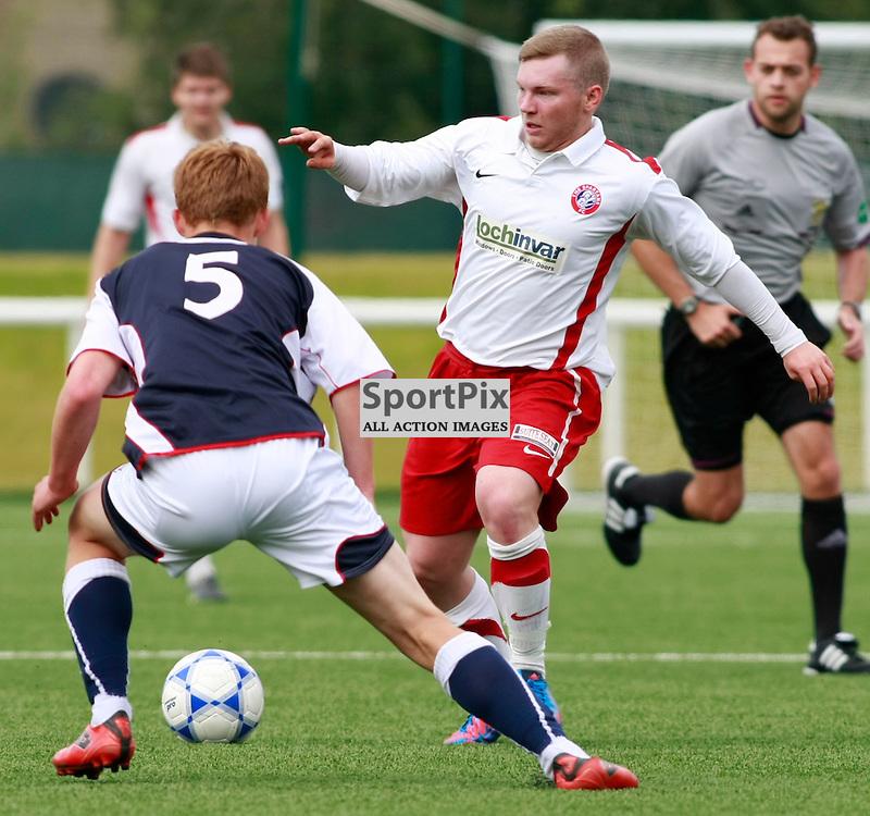 Tyler Fulton (Falkirk no5) and Jordan Finnie (Spartans) Spartans v Falkirk XI. Ainslie Park, Edinburgh 15th July 2012. (c) Russell Sneddon | StockPix.eu