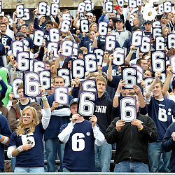 Oct 31, 2009; East Hartford, CT, USA; Connecticut students hold #6 signs in memory of slain Connecticut player Jasper Howard during pre game ceremonies for Big East NCAA football action between Rutgers and Connecticut at Rentschler Field.