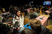 Frankfurt | 16 April 2017<br /> <br /> Aktivisten der Hayir-Initiative trafen sich am Abend des Verfassungsreferendums in der T&uuml;rkei im G&uuml;nes-Theater in Frankfurt am Main, um gemeinsam die Berichterstattung der Medien zum Referendum zu beobachten und das Ergebnis abzuwarten.<br /> Hier: Die hessischen Landtagsabgeordnete M&uuml;rvet &Ouml;zt&uuml;rk gibt w&auml;hrend der Veranstaltung ein TV-Interview.<br /> <br /> photo &copy; peter-juelich.com<br /> <br /> Abdruck honorarpflichtig!<br /> No Model Release!<br /> No Property Release!