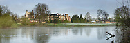 Eton College on the River Thames from Romney Lock Island, Windsor, Berkshire, Uk