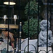 Massachusetts, Boston; Antique Shop Window Display; Charles Street; Beacon Hill