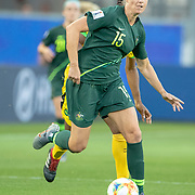 GRENOBLE, FRANCE June 18.  Emily Gielnik #15 of Australia defends by Tiffany Cameron #15 of Jamaica during the Jamaica V Australia, Group C match at the FIFA Women's World Cup at Stade des Alpes on June 18th 2019 in Grenoble, France. (Photo by Tim Clayton/Corbis via Getty Images)