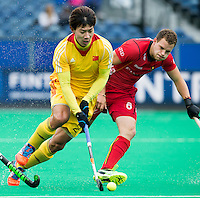 ANTWERP -   Yang Dong with Thiery Dorian (r)   during  the match of the men  Belgium v China.  WSP COPYRIGHT KOEN SUYK