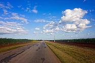 Road through sugar cane fields in Bolivia, Ciego de Avila Province, Cuba.