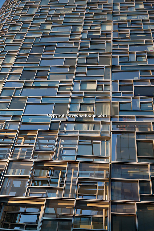 New York , Chelsea district. jean nouvel building s, built on the West Side Highway near the Chelsea Piers complex.Ship of Glass for Chelsea Waterfront  New York - United states  Manhattan