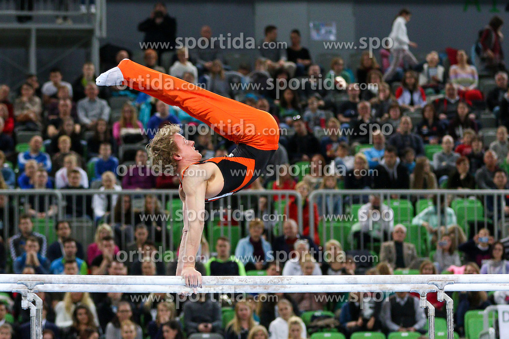 Epke Zonderland of Netherlands competes in Parallel Bar during Final of Artistic Gymnastics World Challenge Cup Ljubljana, on April 5, 2015 in Arena Stozice, Ljubljana, Slovenia. Photo by Morgan Kristan / Sportida