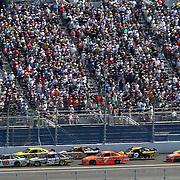 Sprint Cup Series driver Dale Earnhardt Jr. (88) leads down the backstretch during the Daytona 500 Sprint Cup Race at Daytona International Speedway on February 20, 2011 in Daytona Beach, Florida. (AP Photo/Alex Menendez)