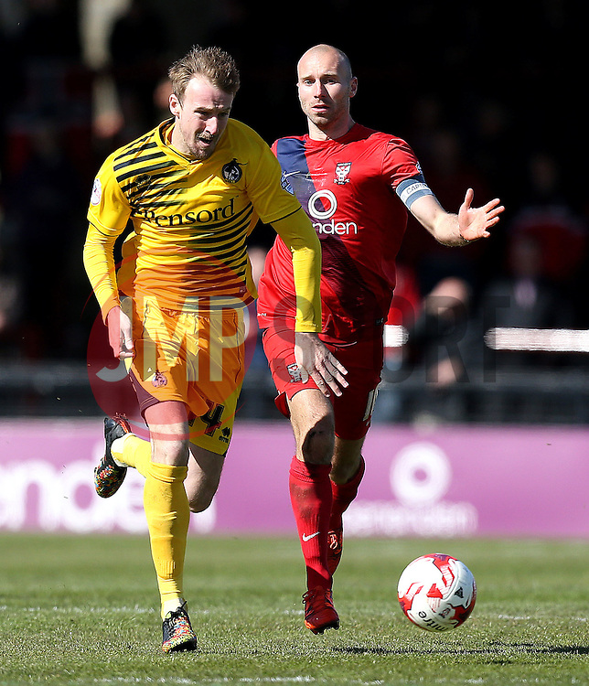 Chris Lines of Bristol Rovers goes past Russell Penn of York City - Mandatory by-line: Robbie Stephenson/JMP - 30/04/2016 - FOOTBALL - Bootham Crescent - York, England - York City v Bristol Rovers - Sky Bet League Two