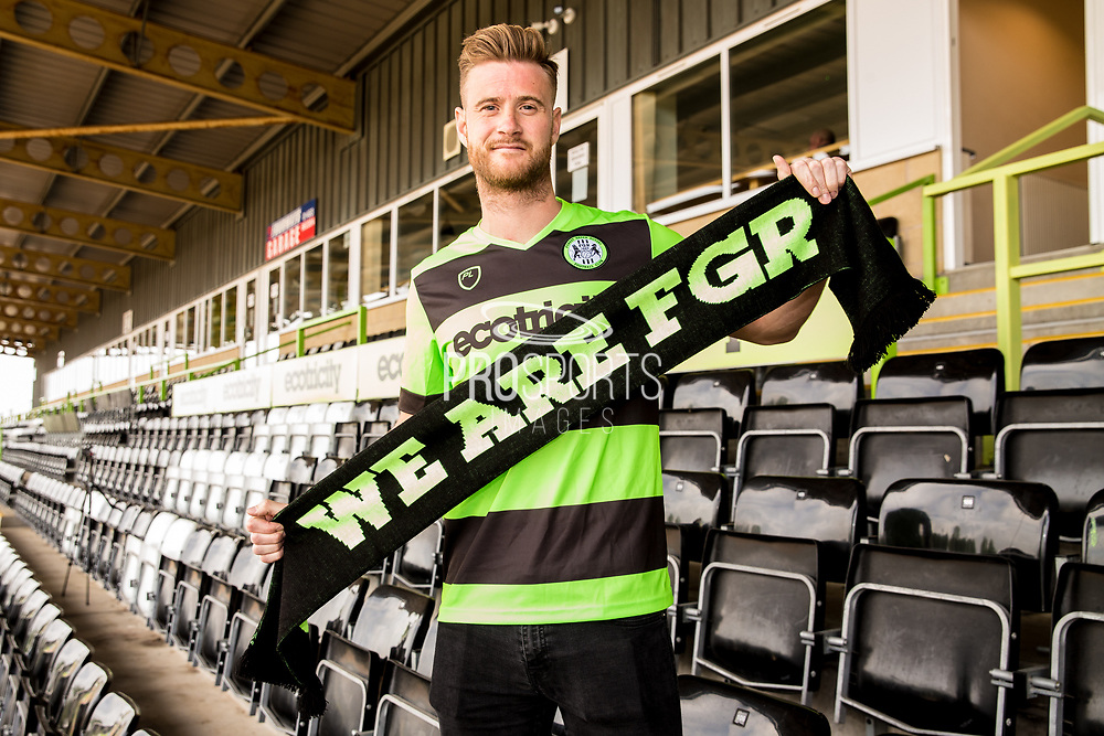 Matt Mills signs a contract with Forest Green Rovers at the New Lawn, Forest Green, United Kingdom on 30 May 2019.