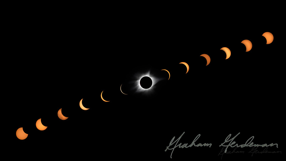 A composite of 13 images from the 2017 Solar Eclipse, taken outside Nashville, TN.<br />