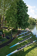 Maidenhead. Berkshire. United Kingdom. General view Competitors boats on trestles beside, Maidenhead RC Boathouse. 2017 Maidenhead Junior Regatta  River Thames. [©Peter SPURRIER/Intersport Images] Sunday. 14.05.2017